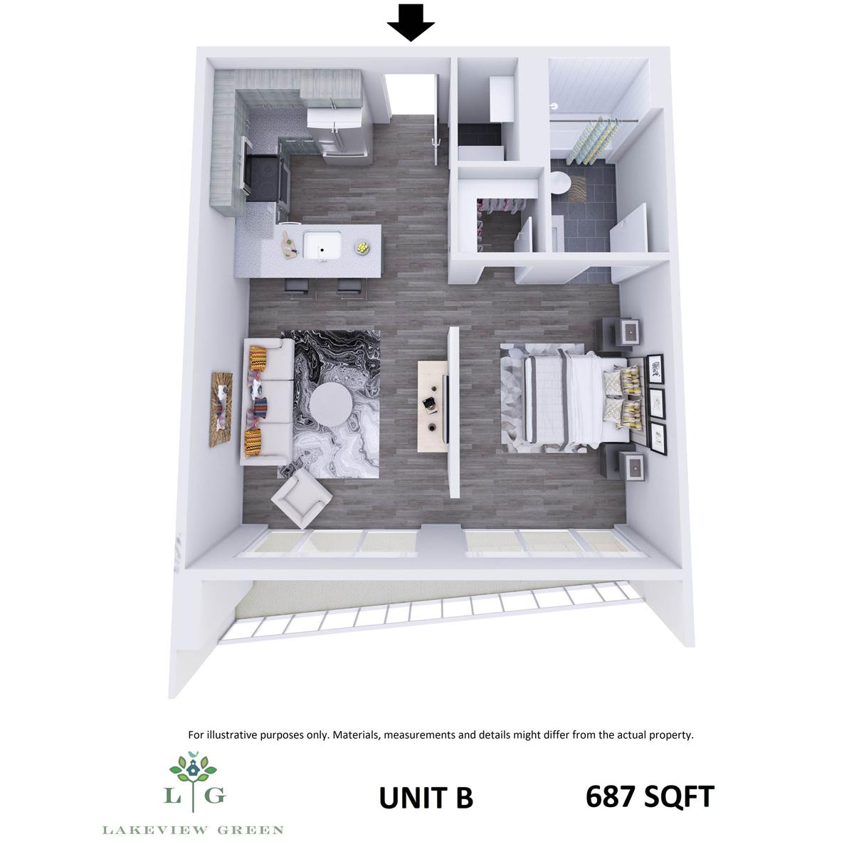 1-Bedroom Apartment (End Unit)
